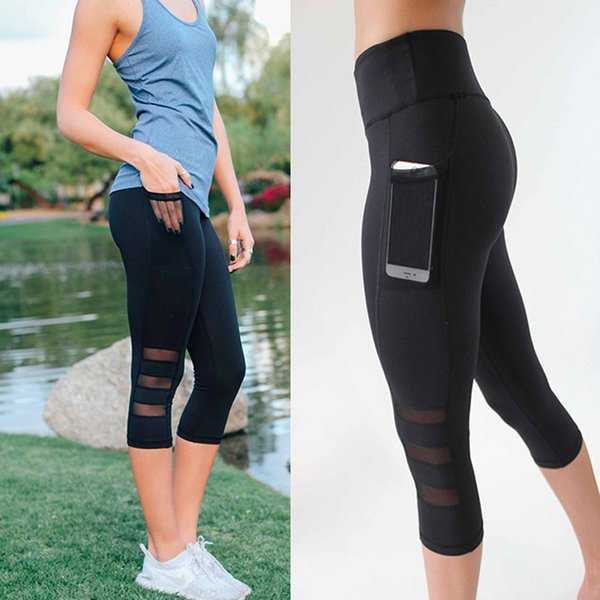 Sexy Mesh Workout Leggings Capri Pants with Pocket High Waist Black Fitness Legging Patchwork Breathable Legging Pants Women