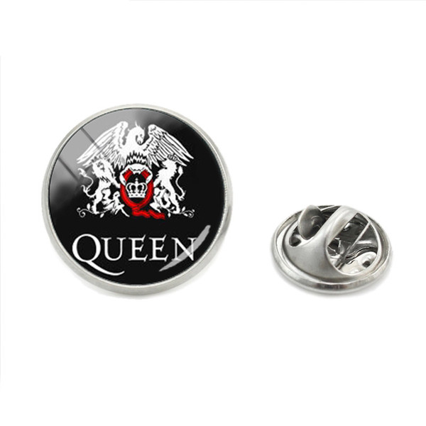 Hot Fashion Pop and Rock Queen Band Photos Glass Dome Silver Jewelry Metal Collar Pins Hand Craft Brooch Queen Logo Round Pins