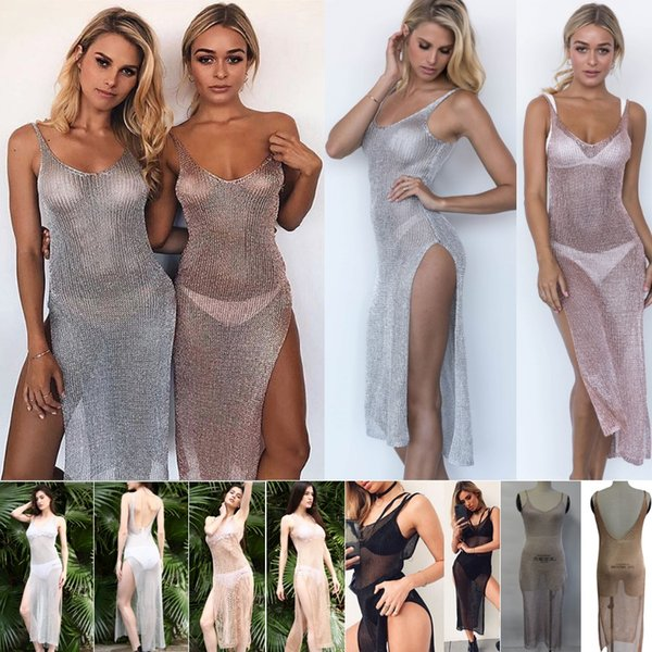 2018 new Women Sexy Bikini Beach Cover-up Swimsuit Covers up Bathing Suit Summer Beach Wear knitting Swimwear Mesh Beach Dress Tunic Robe