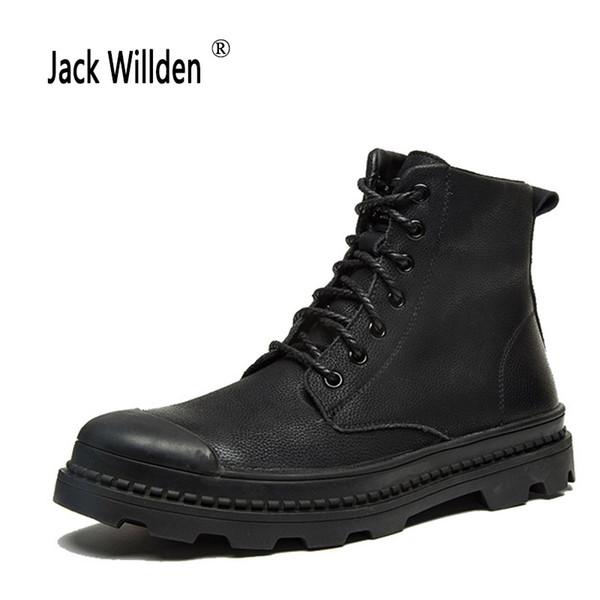 Compre Jack Willden Hombres De Cuero Genuino Botines Moda Botas De Nieve Para Hombres Hombre De Los Hombres Con Cremallera Con Cordones Zapatos Para