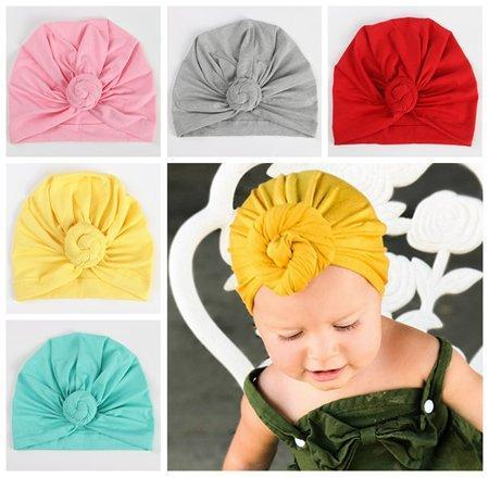 2018 kids summer fall winter hats baby girls knot hat cap infant turban twist baby bonnet solid cotton beanies children accessory