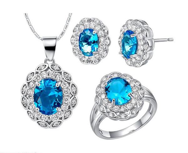 Women fashion Crystal Jewelry Set 18K white platinum plated Blue stone pendent necklace earrings ring set female charm accessory 1 set