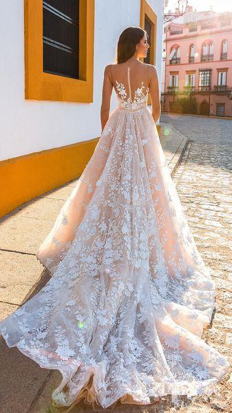 Crystal Design Handmake Flower Bridal Gowns Sleeveless Blush A Line Wedding Dresses Sheer Back Royal Train Wedding Gowns Custom