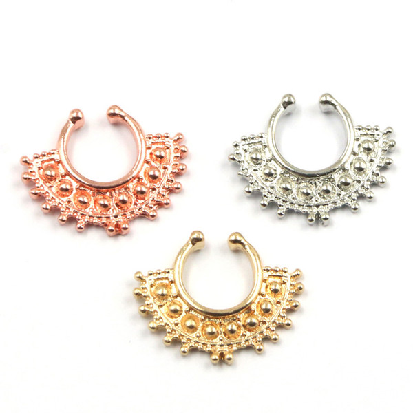 30pcs 2015 new fake septum Clip Hoop faux piercing nose ring alloy gold-color fake piercing hoop nose rings N0039