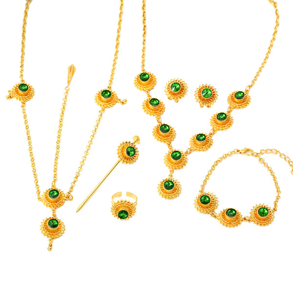 Ethiopian Set Jewelry Necklace Earring Ring Hair Piece Hair Chains Bracelet Gold Color African Bridal Eritrea Habesha
