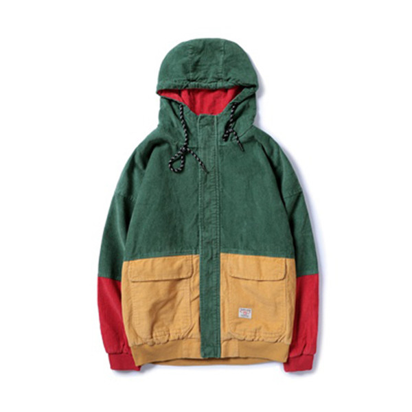 Color Block Patchwork Corduroy Hooded Fashion Jackets Men Hip Hop Hoodies top comfortable Coats Male Casual Streetwear Outerwear S18101805