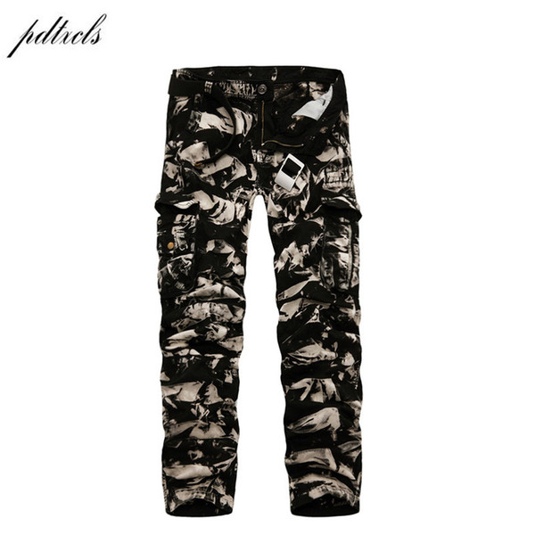 PDTXCLS 2018 Spring New 100% Cotton Cargo Pants Men Multi-pocket Casual Slim Camouflage Trousers Men Color (Asian Size 29-40) Y1892801