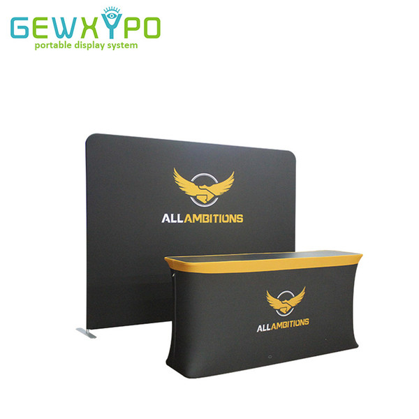 Exhibition Pop Up Booth High Quality 10ft Tension Fabric Aluminum Tube Display Backdrop Wall With Folding Rectangular Table