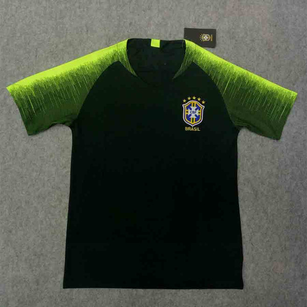 Tops 2018 Brazil Training Jersey Thai Version Bresil Dark Green Training Soccer Jersey Football t-shirts S-2XL