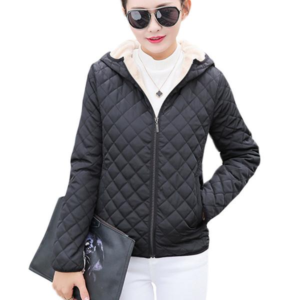 Parkas Basic Jackets Female Women Winter Plus Velvet Lamb Hooded Short Cotton Winter Jacket Womens Outerwear Coat