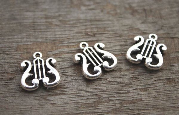 Harp Charms Antique Tibetan silver Harp Charms pendants  18x18mm 20pcs-
