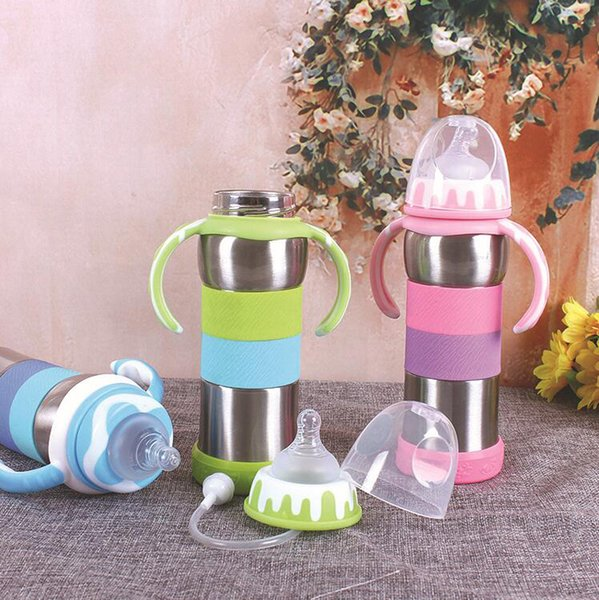 Stainless steel tumbler kids water bottle 280ML Baby Feeding Bottle Infant Milk Bottle Baby Water Cup Kids unbroken insulated travel cup