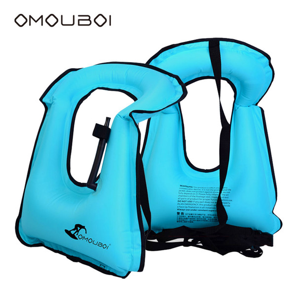 OMOUBOI Inflatable Safety Floating Ring Durable Over Neck Sky Blue Swim Ring Rapid Inflating Swim Float Equipment For Men/Women