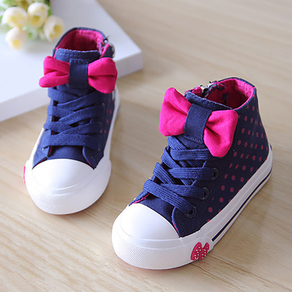 2018 Autumn Spring New fashion Polka Dot Children's Shoes Girl Sneakers Zip Kids flat Little High bow Canvas Shoes EUR 32-36