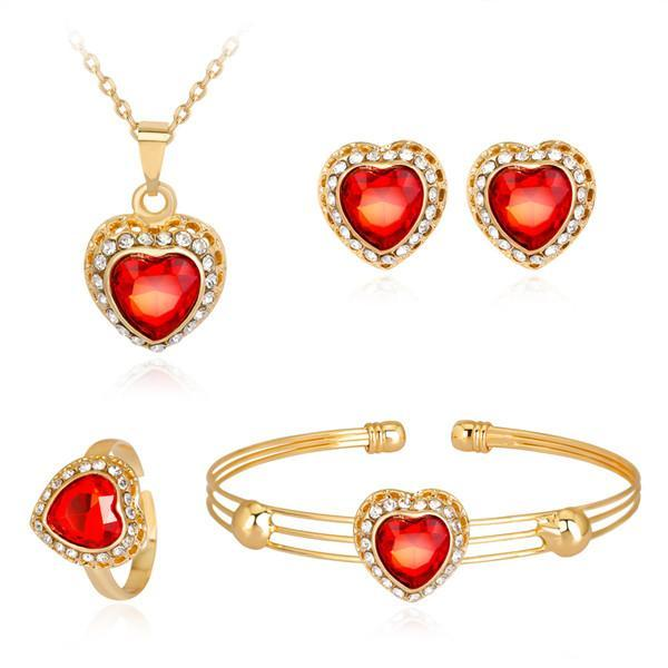 18K Gold Platinum Plated Loving Heart Necklace Bracelet Earring Rings 4 in 1 Jewelry Sets Crystal Wedding Jewelry