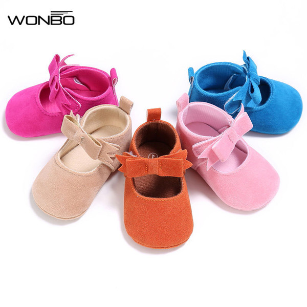 WONBO Baby Girl Shoes PU Suede Moccasins Spring Autumn Shoe Princess Mary Jane Shoes First Walkers Crib Prewalkers