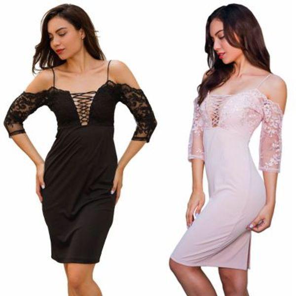 Women Evening Dress Sexy Lace Slip Dress Embroidery Design Knee Length Spilt Sexy Bodycon Dress Womens Dresses White Dresses Party Long Dresses Women