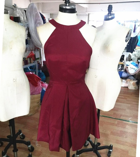 Real Photo Simple Burgundy Halter Short Prom Dresses Sleeveless Party Dresses For Gowns 2017 New junior dressed Cocktail Dresses