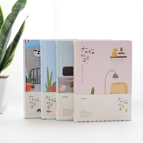 Cute Kawaii Cartoon Hardcover Cat NotDay Weekly Monthly Plan Diary Planner Notepad for Korean Office School Stationery