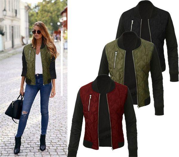 Primavera Outono Mulheres Lady Fashion Jaqueta Bomber Clássico Zip Up Jaqueta Do Motociclista Do Vintage 8-22 Plus Size