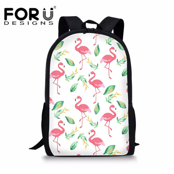 FORUDESIGNS School Bags for Teenager Girls Primary Students Schoolbag Flamingos Printing Children Book s Cute School Bag