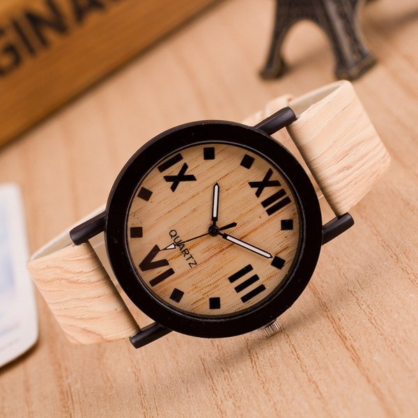 Montre Femme Mujeres Relojes Números romanos Madera PU banda de cuero analógico de cuarzo Vogue Relojes de pulsera Zegarek Damski