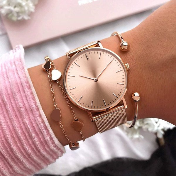 Mavis Hare Rose Gold Beauty Melrose Mesh Women Watches with Heart Bracelet Mesh Bracelet & Crystal Ball Cuff Bangles as gift