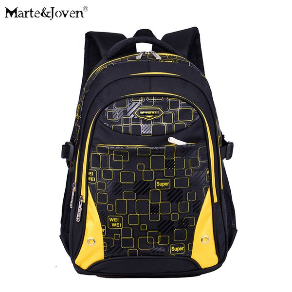 [Marte&Joven] High Quality Nylon Multi-pocket School Bag for Children Back to School Backpack Waterproof Kids Black Rucksack