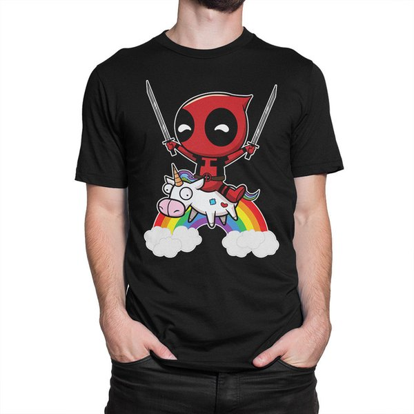 Deadpool With A Unicorn Art T-Shirt, Marvel Comics Tee, All Sizes Top Quality Cotton Casual Men T Shirts Men Free Shipping
