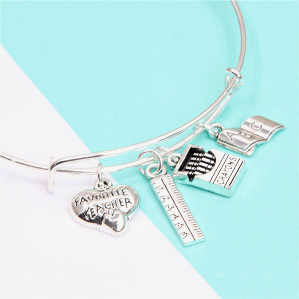 12pcs/lot teacher-Bracelet with rule crayons box ABC book for teacher silver tone bangles teacher's day gift