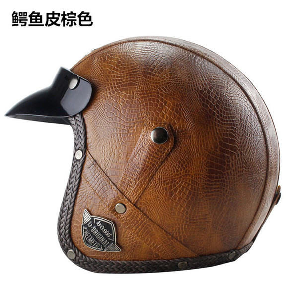 newest Free shipping PU Leather Harley Helmets 3/4 Motorcycle Chopper Bike helmet open face vintage motorcycle helmet