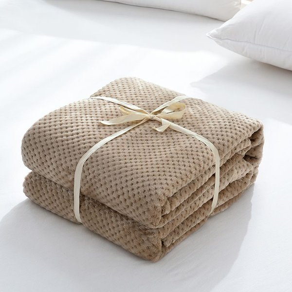 2018 New single double air conditioning blanket child bed sheets Thickening Lambs Twist Knitting Knee Blanket Double Thread Blan