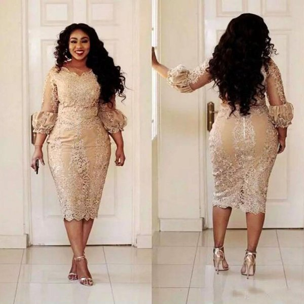 Vintage Champagne Lace Mother of the Bride Dresses Tea length 2018 Modest Long Sleeve Plus Size Mother of Groom Formal Occasion Dress