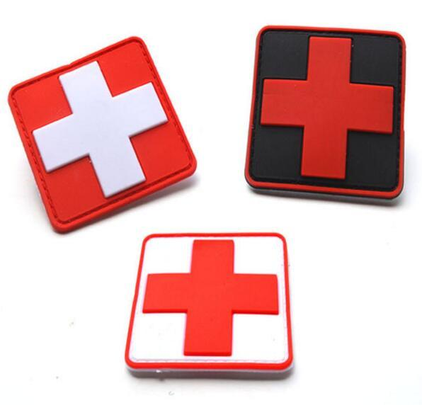 Outdoor Products PVC Patch Armband The Medical Rescue Of The Red Cross Chapter Red Background/White For cloth jacket cap backpack