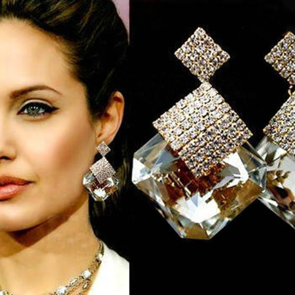Large Crystal Square Stone Rhinestone Drop Earrings For Women Gold Filled Big Dangle Earring Boucle D'oreille Femme E0348
