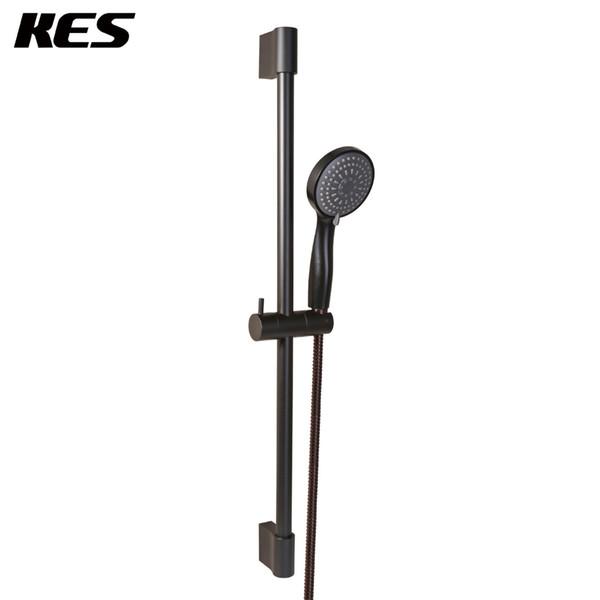 KES Bathroom Sliding Shower 3 Function Head Hand Held Shower with Slide Bar Handheld Showerhead Matt Black, F200-BK+KP324-BK