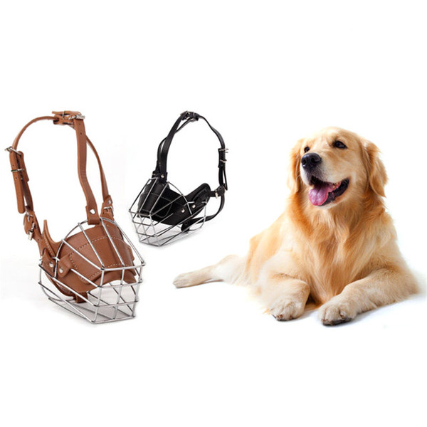 Durable Iron Wire Dog Mask Leather Pet Muzzle Large Dogs Muzzles Chew Basket Mask For Pitbull