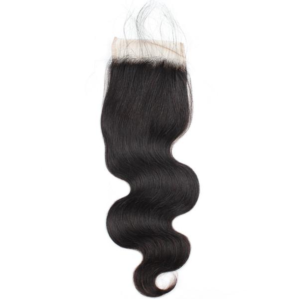 8A Brazilian Peruvian Malaysian Virgin Hair with Baby Hair Fashion Body Wave Closure Human Hair Weave Swiss 4*4 Lace Closure Free Middle