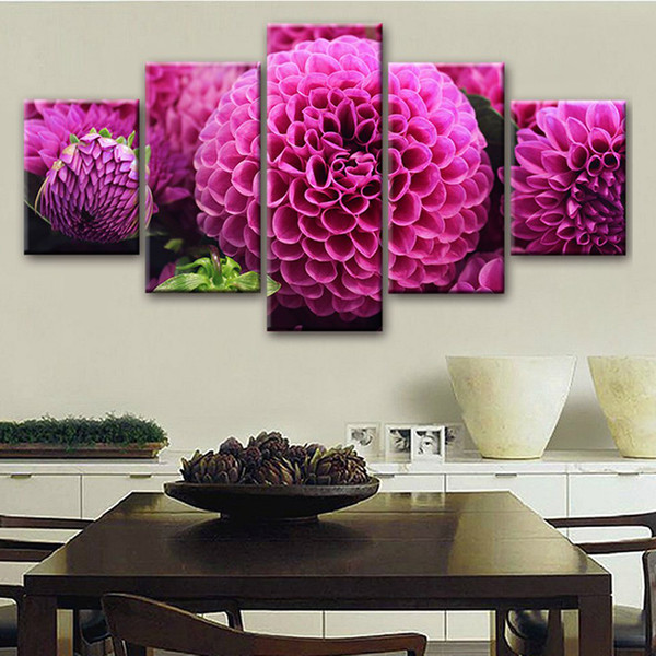 Art Poster Modular Pictures Canvas HD Printed 5 Pieces Purple Flowers Paintings Framework Decor For Living Room Wall Modern Home