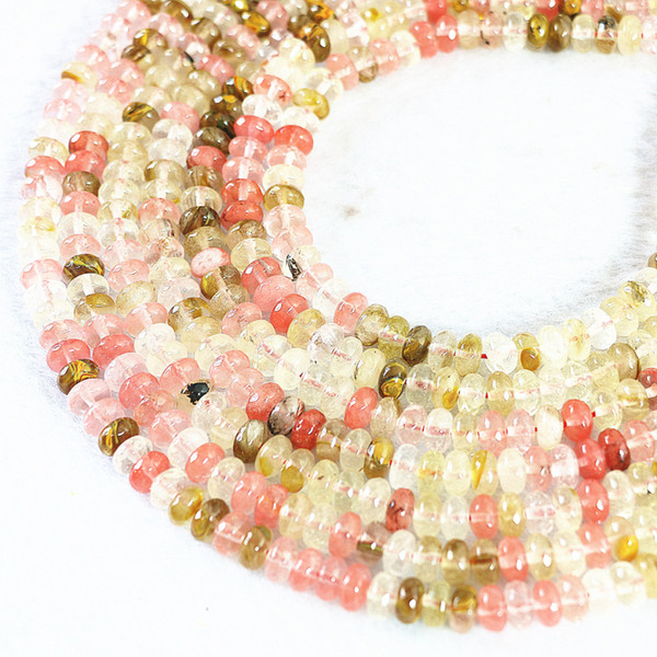 DIY semi-finished products New fashion multicolor watermelon quartz stone crystal 5x8mm abacus faceted loose beads15inch