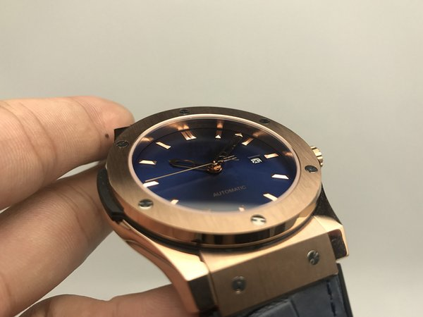 Joan007 Super Factory Luxury Watch Rose Gold Case Blue Face High Quality Rubber Strap 2813 Automatic Mens Watches Wristwatches Original Clas
