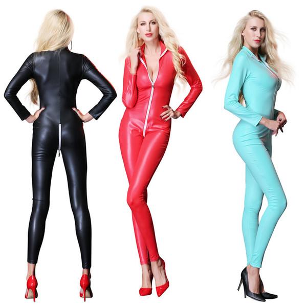 Women's Sexy Faux Leather Latex Catsuit Costumes Zipper Cross Crotch For Clubwear Stripper Halloween Party Fancy Dress