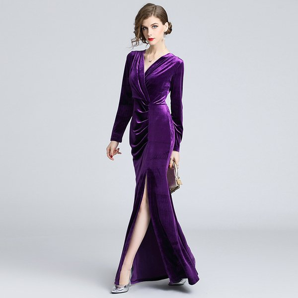 Maxi Dresses for Party Prom Evening Dress Lady Long Sleeve Vintage Bodycon High Split Cocktail Dresses