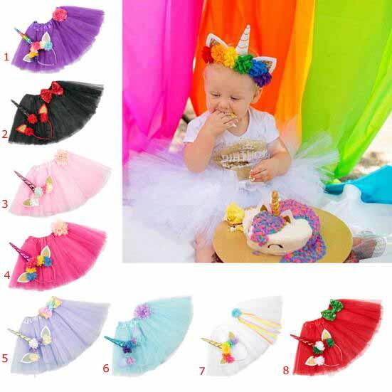 Unicorn dress girl skirts+Unicorn Hair Sticks Girls Birthday tutu skirt sets stereo flower or bowknot princess skirts Unicorn girl dress