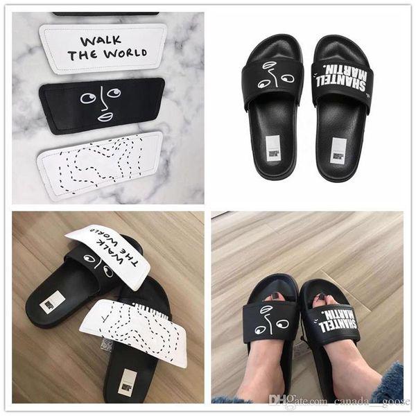 NEW 2018 Martin X Leadcat V SM Wns Slippers Black White Rihanna Fenty Casual Fashion hook loop fastener Slides Slipper Women Mens Size 36-44