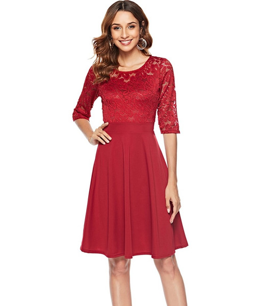 2018 autumn fashion new round neck large swing hook flower hollow lace dress five-point sleeve stitching middle waist solid color skirt