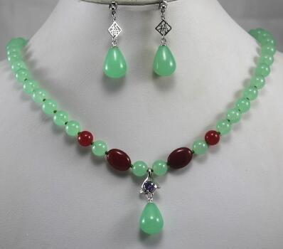 Free Shipping 2 styles! Wholesale 8mm light green/red jades wonderful necklace+ 2 stylesNatural earring&pendant necklace jewelry set