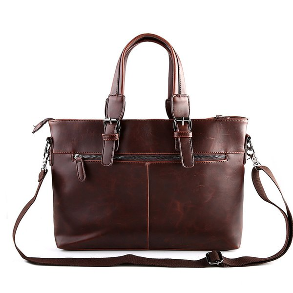 New Men Messenger Bags Masculino Crazy Horse Couro Men Bag Briefcase ombro Leather Laptop Bag Bandoleira Sacos Bolsas Tote Brown
