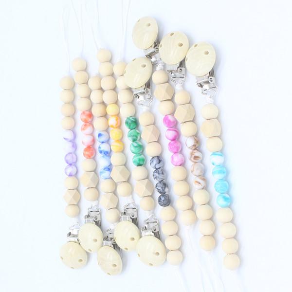 Catenella portacravatte in legno Catenella ciuccio Portachiavi con clip Catenella Dummy Strap Catena Rosa Ciano blu 9 colori Dream Color