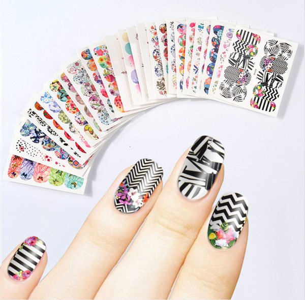 Hot Sale Floral Flowers Water Transfer Nail Art Decals Mixed 45pcs/Lot Watermark Nail Decals Set Gel Manicure Decor Water Slider Stickers